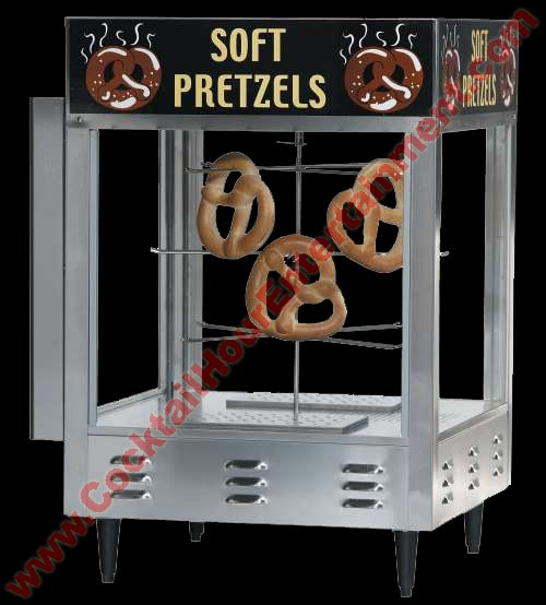 heated pretzel display for soft pretzels